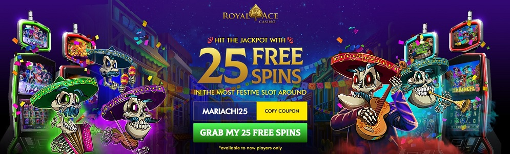 25 FREE SPINS No Deposit Required Bonus at Royal Ace Online Casino on registration. Also for Australians.