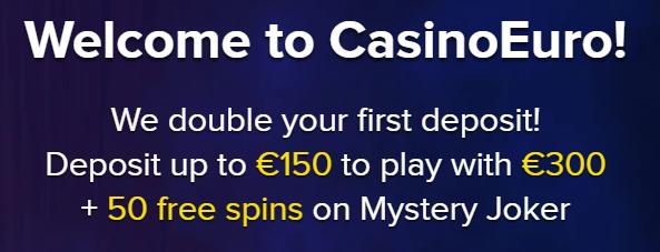 Casino Euro (CasinoEuro.com) Welcome Bonus - 50 Free Spins + €300 Free Chips Bonus on Sign Up