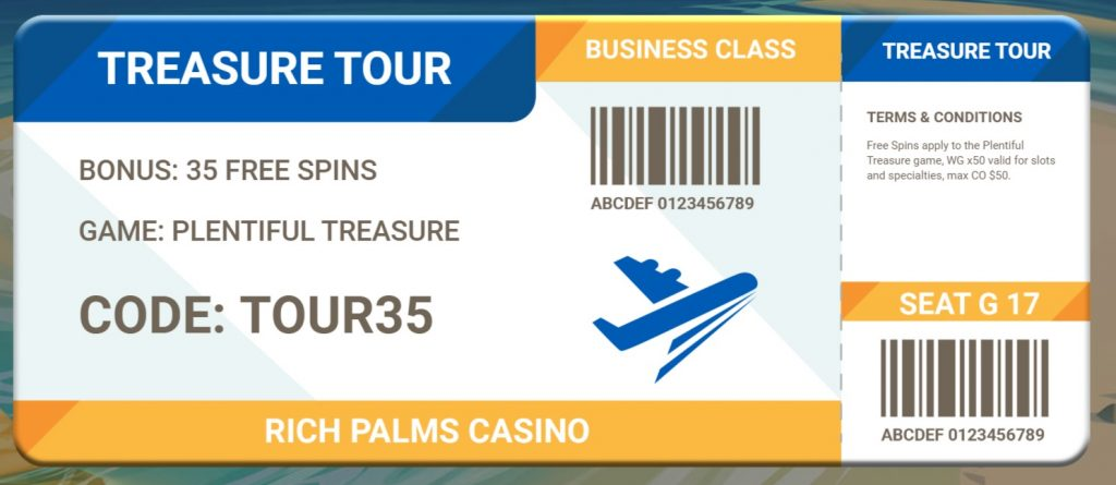 Rich Palms Casino 35 FREE SLOTS SPINS. No deposit required casino bonus!  Win real money and keep what you win!