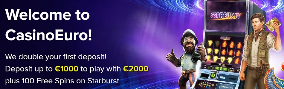 Casino Euro (CasinoEuro.com) Welcome Bonus - Deposit up to €1000 to play with €2000 plus 100 Free Spins!